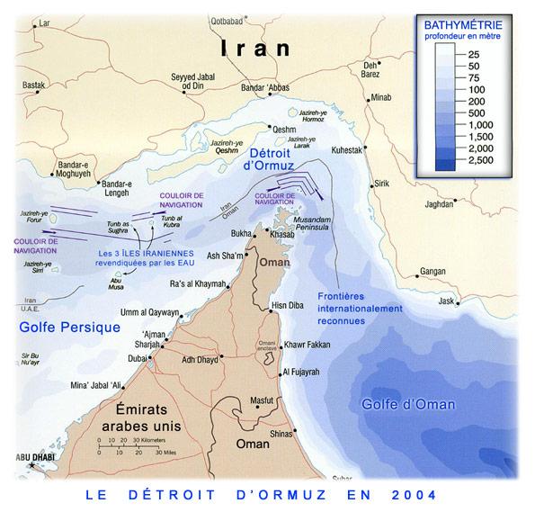 Carte du détroit d'Ormuz